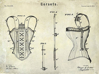 1874 Photograph - Corsets Patent 1874 by Jon Neidert