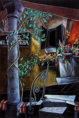 Venezia Drawing - Corte Del Tagliapietra - Venise Dessin Crayon De Couleur by Arte Venezia
