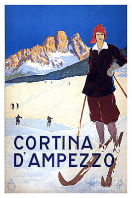 Skiing Poster Painting - Cortina D'ampezzo - Travel Poster For Enit - 1920 by Pablo Romero