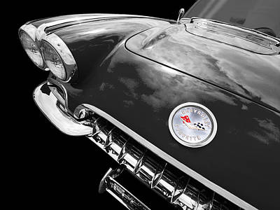 Antique Automobiles Photograph - Corvette C1 1958 In Black And White by Gill Billington