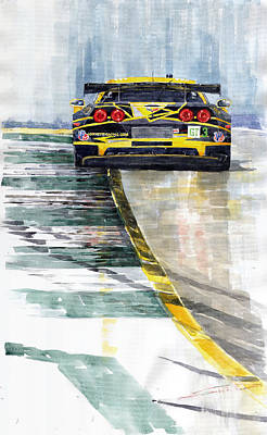 Watercolor Sports Painting - Corvette C6 by Yuriy Shevchuk