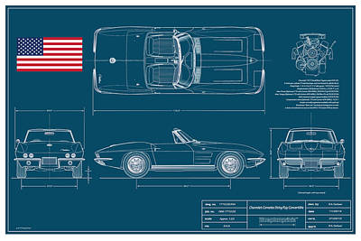 Car Art Drawing - Corvette Convertible Blueplanprint by Douglas Switzer