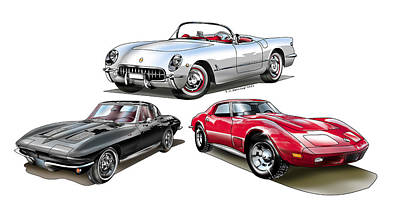 Art Print featuring the digital art Corvette Generation by Thomas J Herring