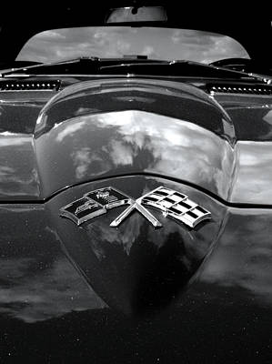 Checkered Black-and-white Photograph - Corvette In Black And White by Bill Gallagher