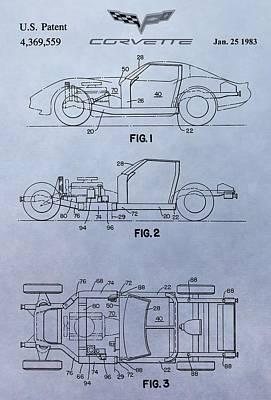 General Motors Digital Art - Corvette Patent by Dan Sproul