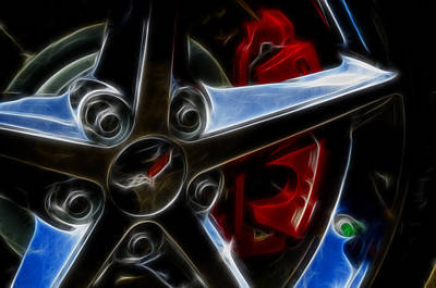 Digital Art - Corvette Spokes Fractal by Ricky Barnard