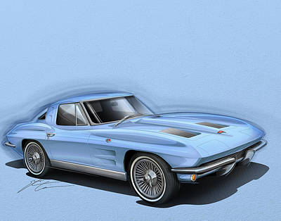 Drawing - Corvette Sting Ray 1963 Light Blue by Etienne Carignan