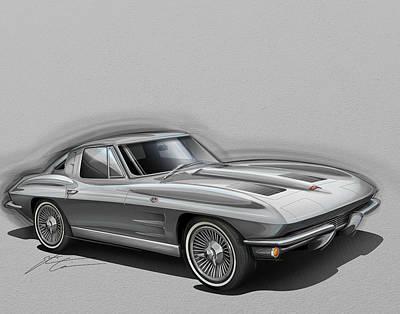 Digital Art - Corvette Sting Ray 1963 Silver by Etienne Carignan