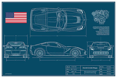 Technical Digital Art - Corvette Stingray Blueplanprint by Douglas Switzer