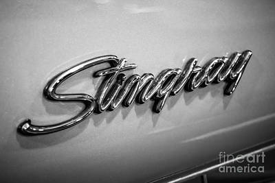Landmarks Royalty-Free and Rights-Managed Images - Corvette Stingray Emblem Black and White Picture by Paul Velgos