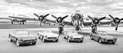 Photograph - Corvettes And B17 Bomber -0027bw2 by Jill Reger