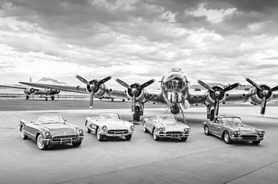 B17 Photograph - Corvettes And B17 Bomber -0027bw45 by Jill Reger