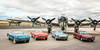 Photograph - Corvettes And B17 Bomber -0027c23 by Jill Reger