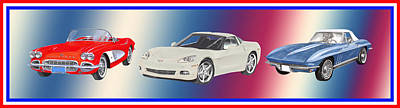 Sports Paintings - Corvettes in Red White and True Blue by Jack Pumphrey