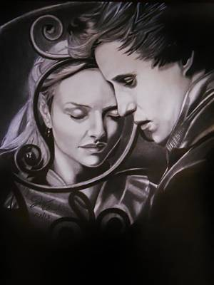 Amanda Drawing - Cosette And Marius.  by Joseph Unruh