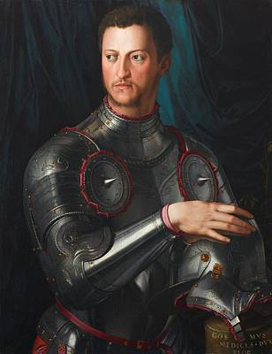 New South Wales Painting - Cosimo I De' Medici In Armour by Agnolo Bronzino