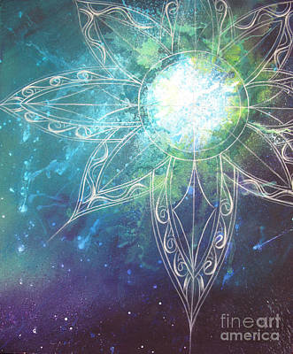 Star Burst Painting - Cosmic 2 by Reina Cottier