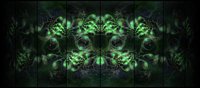Digital Art - Cosmic Alien Eyes Green by Shawn Dall