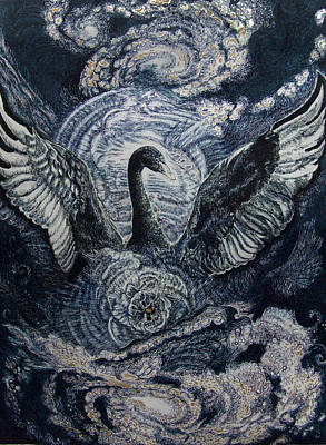 Cosmic Drawing - Cosmic Black Swan  by Helen Duley