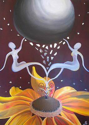 Cosmic Bloom Art Print by Jen Santa