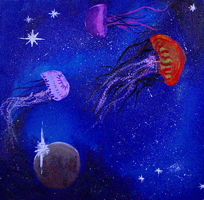 Cosmic Jellyfish  Art Print by Andy Lawless