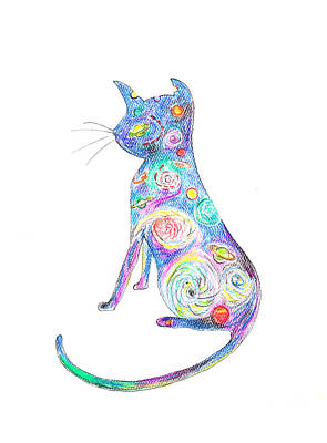 Cosmic Space Drawing - Cosmic Kitty by Nicole Scott