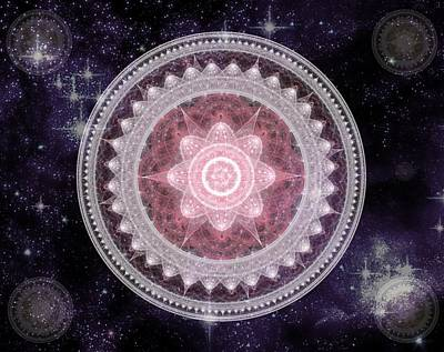 Cosmic Medallions Fire Art Print by Shawn Dall