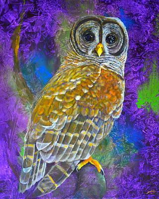 Cosmic Owl Art Print by AnnaJo Vahle