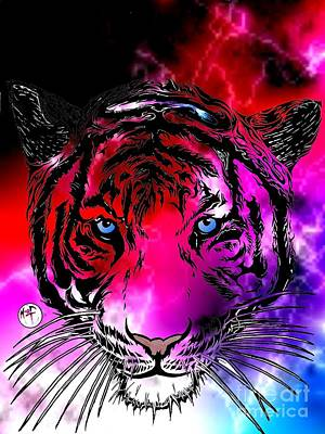 Cosmic Storm Tiger Art Print by Justin Moore