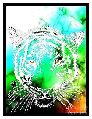 Cosmic Tiger Invert Edition Art Print by Justin Moore