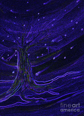 Outer Space Painting - Cosmic Tree Blue by First Star Art