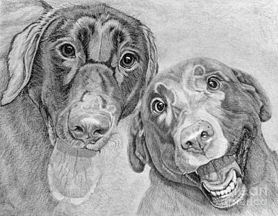 Drawing - Cosmo And Lucy Bw by Audrey Van Tassell