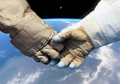 Cosmonaut And Astronaut Shaking Hands Art Print