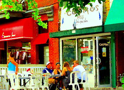 Greasy Spoon Restaurants Painting - Cosmos All Day Breakfast Diner Chef Tony  Man Of Grease Montreal Memories Art Carole Spandau by Carole Spandau