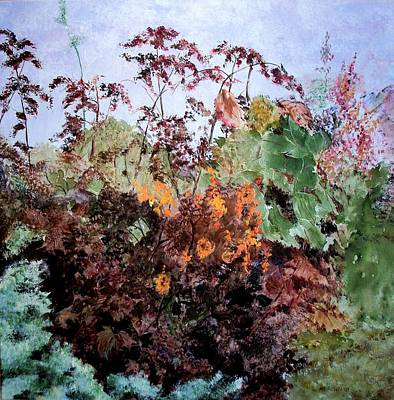 Painting - Cosmos And Kale by Marilyn McMeen Brown