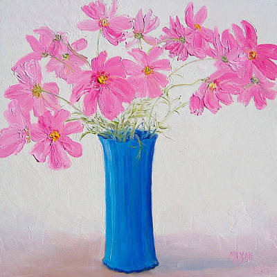 Interior Still Life Painting - Cosmos Flowers by Jan Matson