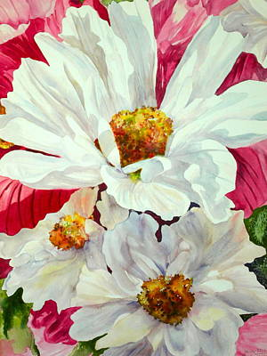 Birdseye View Painting - Cosmos Up Close by Becky Taylor Fine Art