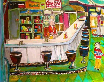Greasy Spoon Restaurants Painting - Cosmos's On Sherbrooke by Michael Litvack