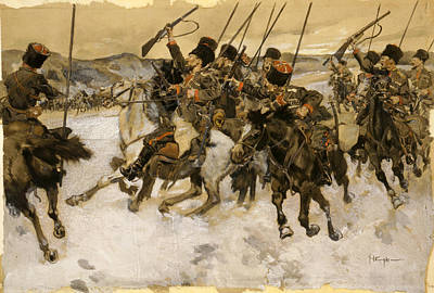Eastern European Painting - Cossacks Attacking A Train by Granger