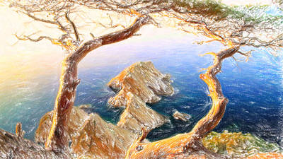 Crayons Tree Painting - Costa Brava In Spain With Crayons by MotionAge Designs