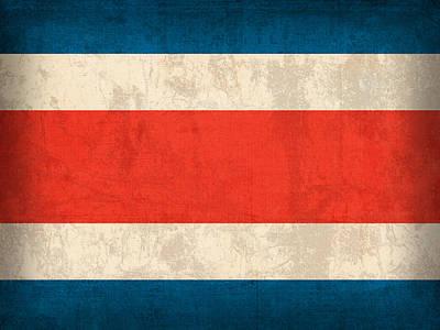 Costa Rica Flag Vintage Distressed Finish Art Print