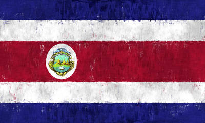 Costa Rica Flag Art Print by World Art Prints And Designs