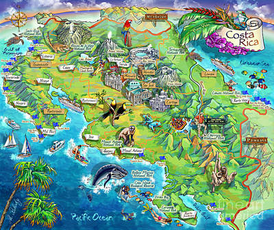Animals Paintings - Costa Rica map illustration by Maria Rabinky