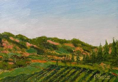 Napa Valley Vineyard Painting - Castello Di Amorosa Vineyard by Pauly Tamez