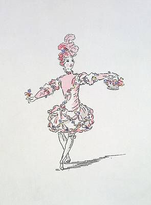 Full Skirt Drawing - Costume Design For A Young Egyptian Dressed As Spring by French School
