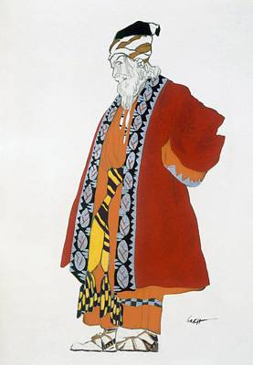 Folk Drawing - Costume Design For An Old Man In A Red by Leon Bakst