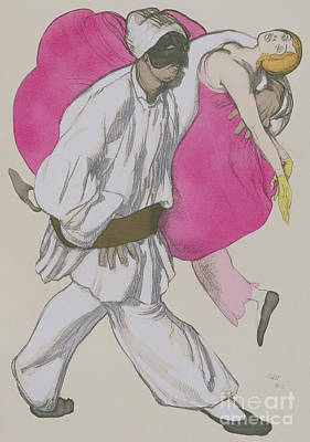 Costume Designs For Pamina And Monostatos In The Magic Flute Art Print by Leon Bakst