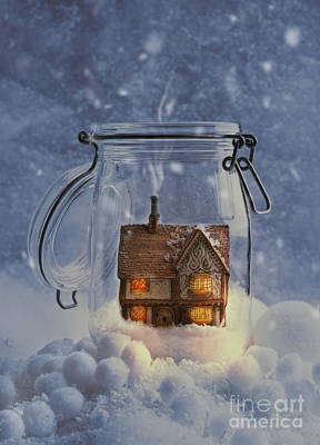 Snowy Night Photograph - Cosy Home by Amanda Elwell