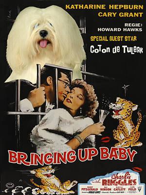 Bringing Painting - Coton De Tulear Art Canvas Print - Bringing Up Baby Movie Poster by Sandra Sij