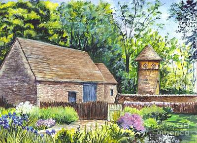 Floral Hand-painted Frame Painting - Cotswold Barn by Carol Wisniewski